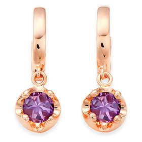 February birthstone 4mm naturalamethyst tiara one-touch earrings