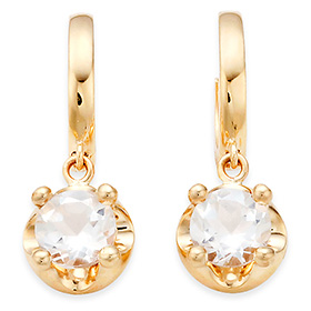 April Birthstone 5mm Natural White Topaz Tiara One-Touch Earrings