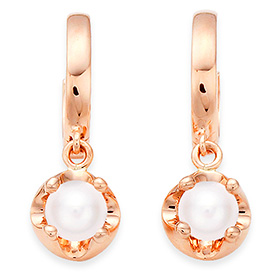 June birthstone 4mm natural pearl tiara one-touch earrings
