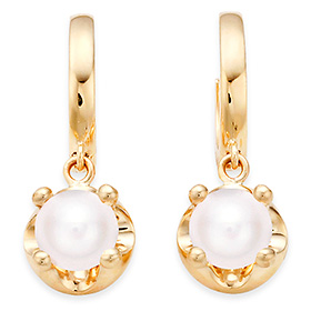 June birthstone 5mm natural pearl tiara one-touch earrings