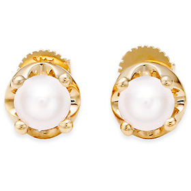 June birthstone 5mm natural pearl tiara earrings