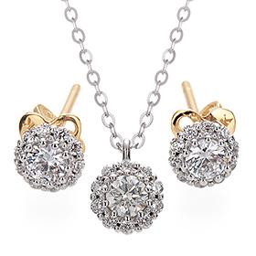 "<b><font color=""b400b0"" >[Part 1 Contemporary Emotion]</font></b> <br> 14k / 18k Myster Natural Diamond set [Necklace + earring]"