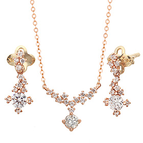 "<b><font color=""b400b0"" >[Part 1 Contemporary Emotion]</font></b> <br> 14k / 18k Latea natural diamond set [Necklace + earring]"