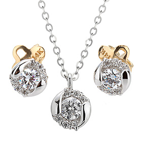 "<b><font color=""b400b0"" >[Part 1 Contemporary Emotion]</font></b> <br> 14k / 18k Briana natural diamond set [Necklace + earring]"