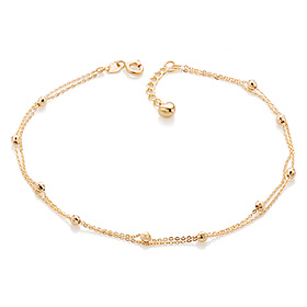 14K / 18K simple mirror ball anklet [overnightdelivery]