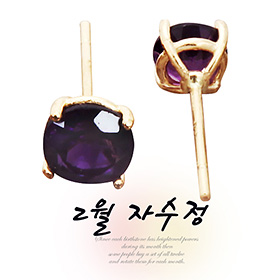 "<b><font color=""662d91"">[Peace and Sincerity]</font></b> <br> 2month birthstone 14K naturalamethyst earring"