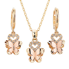 14K / 18K Ellis butterfly set [Necklace + earring] [overnightdelivery]