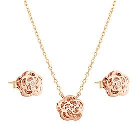 14K / 18K jazz rose set [Necklace + earring] [overnightdelivery]