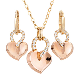 14K / 18K Berry Heart set [Necklace + earring]