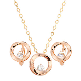 14K / 18K pink flow set [Necklace + earring]