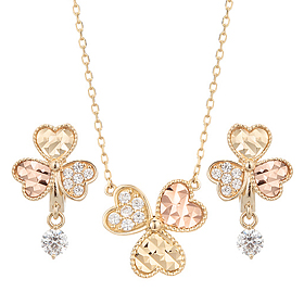 14K / 18K funky clover set [Necklace + earring]