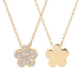 14K / 18K Lily flower double-sided Necklace