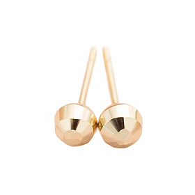 14K Golden Cutting Ball 4mm Earring