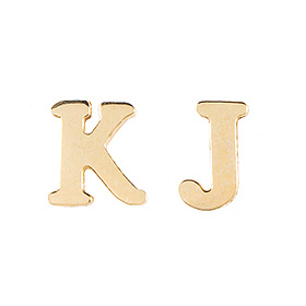 14k / 18k English Korean pinhole initials Earring (Half) pair available