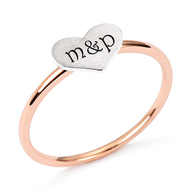 14k / 18k Combination Heart Initial Rings