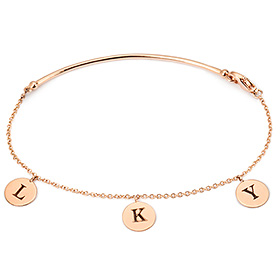 14K / 18K Simple Stick Coin Charm Initial Bracelet