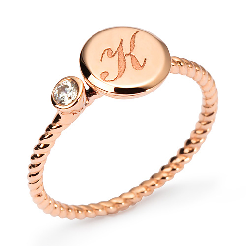 14k / 18k volume coin initial ring