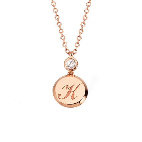 14k / 18k Volume Coin Initial Necklace