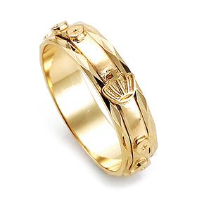 14K / 18K R195 piece rosary ring rotating