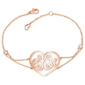 14K / 18K Minjie Heart Monogram Initial Bracelet