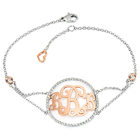 14K / 18K Cubic Round Monogram Initial Bracelet