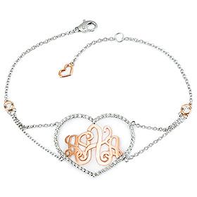 14K / 18K Cubic Heart Monogram Initial Bracelet