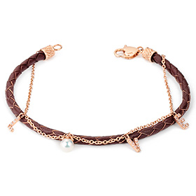14K / 18K Love initials leather bracelet