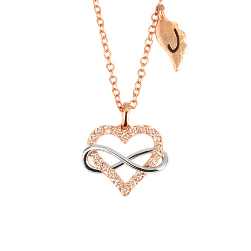 14k / 18k Endless Love Initial Necklace
