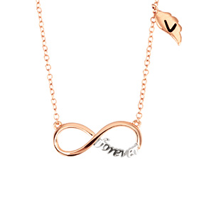 14k / 18k Forever Wing Initial Necklace
