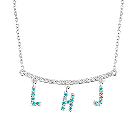14k / 18k Mint Cubic Initial Necklace