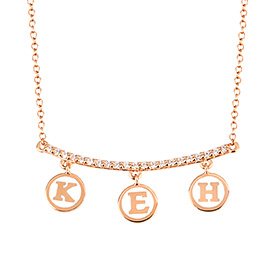 14k / 18k Cubic Stick Coin Charm Initial Necklace