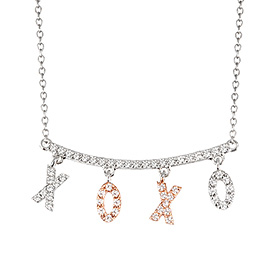 14k / 18k hug and kiss color combination Necklace