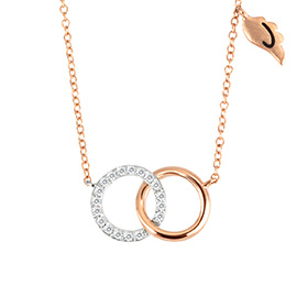 14k / 18k Two Circle Initial Necklace