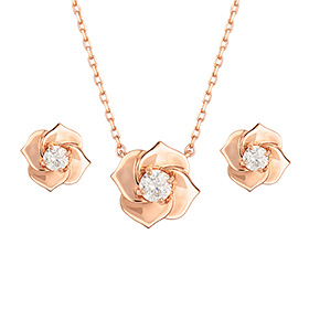 14K Bain Rose -Pink set [Necklace + earring] [overnightdelivery]