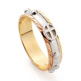 14K / 18K R147 Piece Rotating Rosary Ring