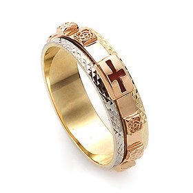 14K / 18K R151 piece rotating rosary ring