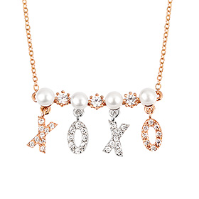 14k / 18k Hug and Kiss Pearl Initial Necklace