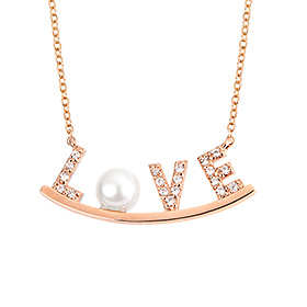 14k / 18k Love Flower Initial Necklace