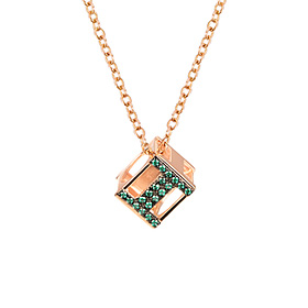 14k / 18k Light Bulb Cube Initial Pendant (Necklace) (A ~ Z)