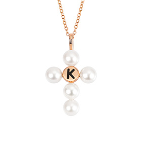 14k / 18k freshwater pearl cross initials necklace