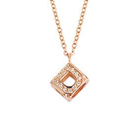 14k / 18k Swarovski Stone Cube Initial Necklace (A to Z)