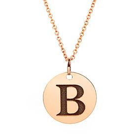 14k / 18k 18mm coin alphabet initials necklace