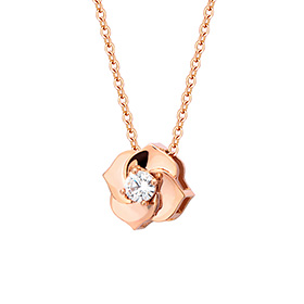 14K Bain Rose-Pink three-dimensional necklace [overnightdelivery]