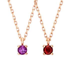 14k / 18k Natural Birthstone 3mm Necklace (1month ~ 12month)