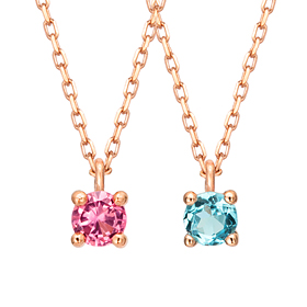 14k / 18k Natural Birthstone 4mm Necklace (1month ~ 12month)