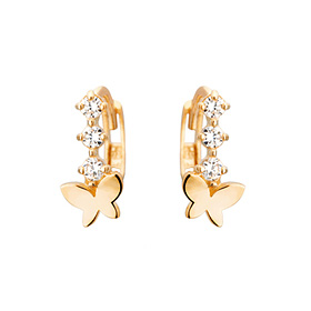 14K / 18K butterfly flower earring / earrings [overnightdelivery]