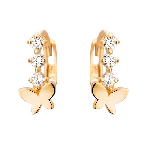 14K / 18K butterfly flower earring / earrings (overnightdelivery)