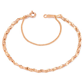 14k Shine pink two lines bracelet