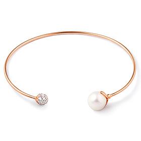 14K / 18K Seawater Pearl Shine Ball Bangle Bracelet
