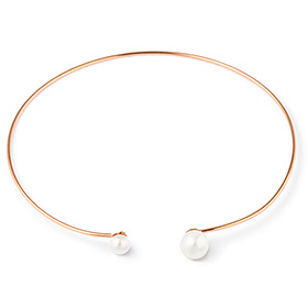 14K Double Freshwater Pearl Bangle Bracelet